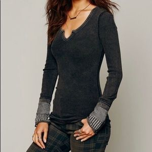 Free people waffle Henley thermal Kyoto cuff